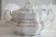BEST! Antique Porcelain Pale Pink Roses German Biscuit Jar