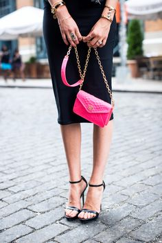 black style, handbag, accessori, personal style, tory burch, pencil skirts, dressing up, bags, pink peonies