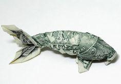 Koi Origami dollar bill