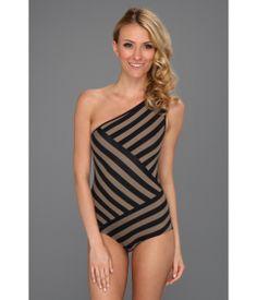 Black & Taupe Stripe Swimsuit.