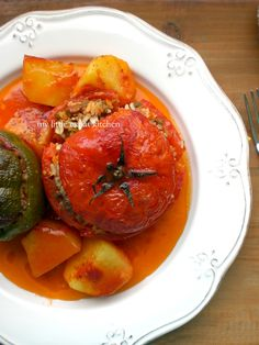 Gemista (Greek stuffed tomatoes and peppers with rice and minced beef) by My Little Expat Kitchen