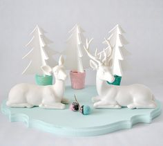 wooden tree, reindeer, winter, white, trees, christma time, pastel christma