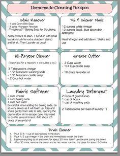DIY Cleaning Cheat Sheet