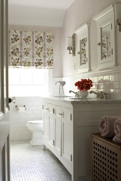 floor, wall tiles, bath vanities, traditional tile bathroom, white bathrooms, roman shades, kids bath, subway tiles, traditional homes