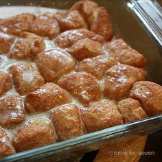 Cinnamon Roll Bites (table for seven). Ingredients: refrigerator biscuits, butter, cinnamon, brown sugar, powdered sugar, vanilla, milk