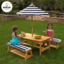 KidKraft Outdoor table and Chair Set with Cushions and Navy Stripes- free shipping navi stripe, outdoor tabl, cushion, chair set
