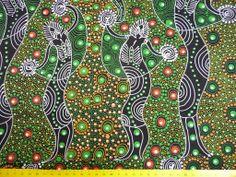 Tissu imprimé aborigène d'Australie, vert sur fond noir : Tissus Habillement, Déco par tissus-du-monde