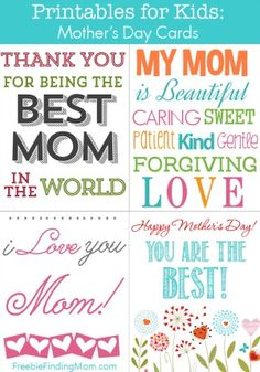 Free Printable Mother's Day Cards - Wish your special mom a Happy Mother's Day with one of these free printables for kids.