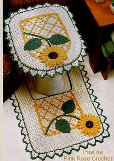 \ PINK ROSE CROCHET /: Tapetes Girassol em Crochê para Banheiro bathroom set, rose crochet, baño, sunflow bathroom, pink rose, crochet pattern