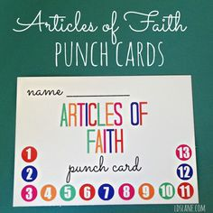 Articles of Faith Free Printable Punch Cards And reminder wristbands and lds apps