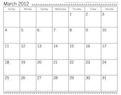 monthly calendar 2012