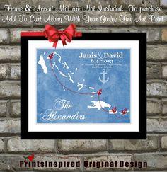 Nautical Wedding Gift: Any Tropical Wedding Location or USVI Bahamas Carribean Cruise Anchor Map Art Print Mexico Ocean Islands Montego Bay on Etsy, $21.99 Nautical Wedding, Weddings On Cruises, Cruise Wedding, Nautic Map, Tropical Weddings, Wedding Gifts