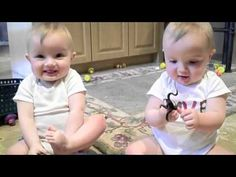 twin boys hear their daddy sneeze and try to copy the sound.