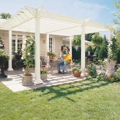 How to Build a Pergola  http://www.familyhandyman.com/DIY-Projects/Outdoor-Projects/Backyard-Structures/Pergola/how-to-build-a-pergola/Step-By-Step