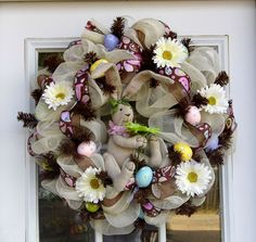 Easter Bunny Spring Mesh Wreath With Eggs And Flowers