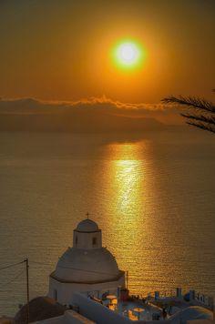 Golden sunset in Santorini,Greece
