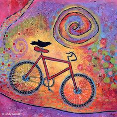 © Lindy Gaskill, Just Ride and Fly, acrylic on wood. Also comes as a print at http://www.etsy.com/listing/26632126/bicycle-and-raven-print-8-x-8-just-ride?ref=shop_home_active