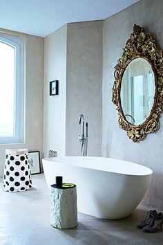 Marie Claire Maison, via Not My Beautiful Home. baths, mirror, interior design, francecontemporari design, stool, design files, old houses, bathroom, contemporary design