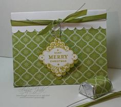 Very Merry Christmas Bag using Stampin Up Punches Three retired hostess stamp set.
