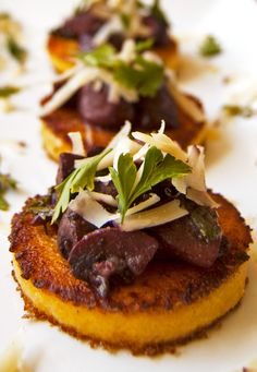 Polenta Cakes with Red Wine Mushrooms