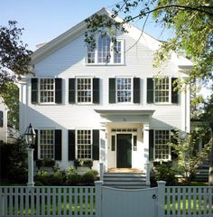 white picket fences, white houses, exterior, new england style, curb appeal, homes, dream houses, shutters, window boxes