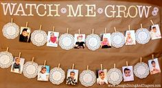 those month-by-month photos of your child's first year make a simple + BEAUTIFUL display for their fist birthday party! Vintage Shabby Chic, Birthday Banners, Birthday Parties, First Year Photos, 1St Birthday, First Birthday, Photos Display, Parties Ideas, 1 Year