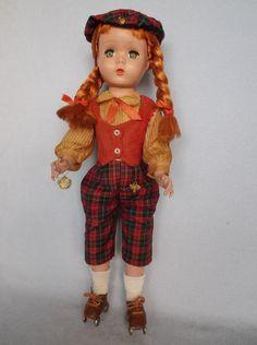 Madame Alexander 18 Kathy Maggie Doll Braids Pigtails Orange Hair Roller Skates  #DollswithClothingAccessories
