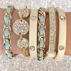 stacked bracelets, chloe stack, arm party, accessori, soft colors, stack bracelet, jewelri, baby blues, arm candies