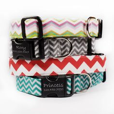 Our Chevron Dog collars are cute, trendy and fun. These fabric collars have personalized laser engraved buckles and come in a variety of colors.