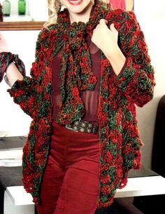 tejidos artesanales en crochet: saco abierto con lazo tejido en crochet (talle medium)