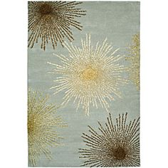 Handmade Soho Burst Blue New Zealand Wool Rug (5' x 8') $191