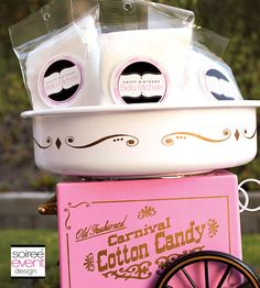 Custom Cotton Candy Bags with Personalized Labels from Soiree-EventDesignShop.com
