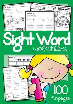 Sight Word Worksheets Mega Pack for 100 Words $