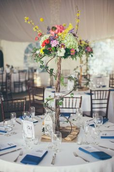 tall and colorful floral wedding centerpiece