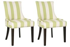 Green Striped Lester Dining Chairs, Pair