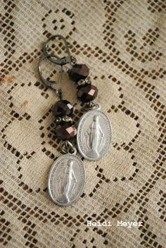 Religious assemblage earrings