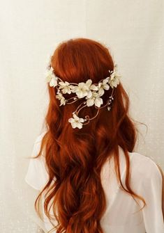 white flowers, hair ginger, hair colors, flower crowns, shades of red, ginger wedding hair, red copper hair, red hair shades, red haired wedding