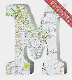 Custom Map Wood Letter