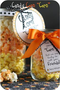 Free Candy Corn Popcorn Recipe and Label