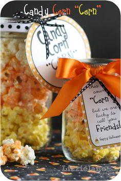 Free Candy Corn Popcorn Recipe and Label