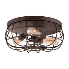 Something similar in back entry. Replace the fan.  Wire Cage Flush Mount Light, Rubbed Bronze