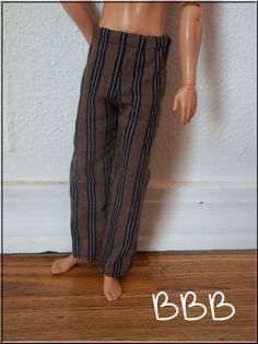 Ken Clothes Pajamas Brown Black Striped by BarbieBoutiqueBasics