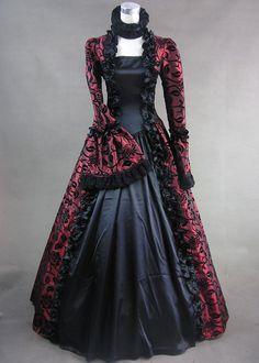 halloween costumes, victorian dresses, red black victorian dress, dresses gothic red