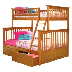 Twin over full bunk beds, with underbed storage.