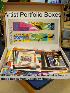 Student Art is kept in portfolio boxes (clean pizza boxes)