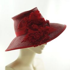 Red WIDE BRIM HAT for Women  Panama Hat by TheMillineryShop, $325.00