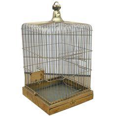 Antique Brass Bird Cage  England  1920s