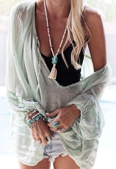 Sexy boho chic gauze tunic top over modern hippie jean cut off shorts with long layered tassel necklace & stacked bracelets & chunky rinFor the BEST Bohemian fashion trends FOLLOW http://www.pinterest.com/happygolicky/the-best-boho-chic-fashion-bohemian-jewelry-gypsy-/ now.gs.