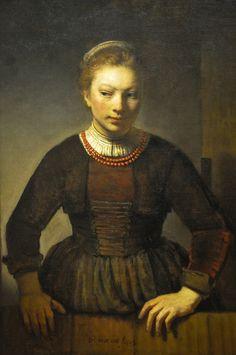 Rembrandt van Rijn Workshop - Young Woman at an Open Half Door, 1645 at Art Institute of Chicago IL