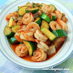 Sweet and spicy shrimp with zucchini stir fry.